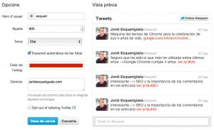 Configuración twitter lista de tiempo